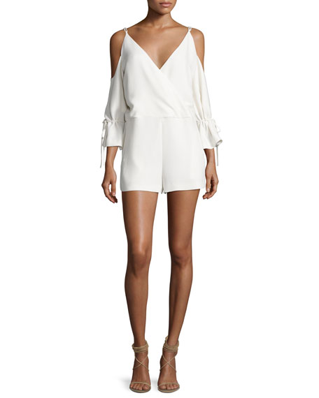 Iro Ludolf Crepe Cold-Shoulder Romper, Ecru and Matching