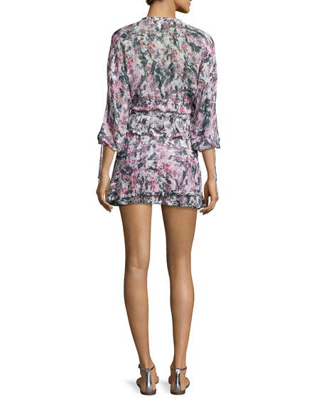 Marta Tiered Abstract Mini Dress, Pink