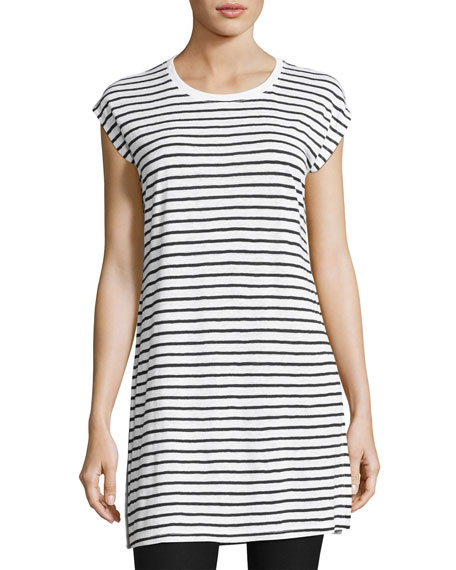 Seaside Striped Organic Linen Tunic, White/Black
