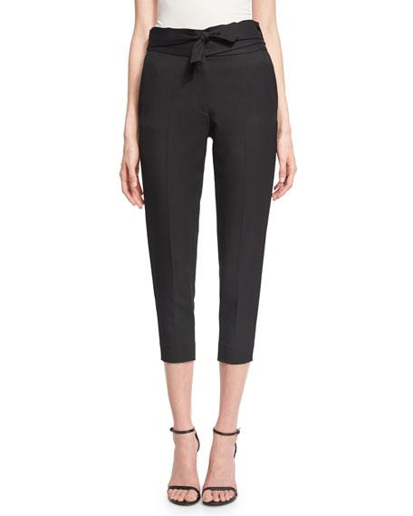 Sheava Cropped High-Rise Pants, Black