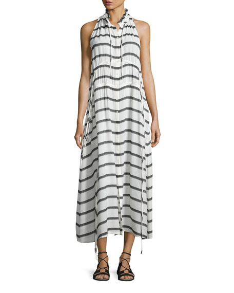 Iro Karell Striped Voile Midi Dress, Ecru