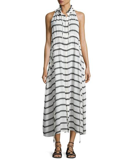 Iro Karell Striped Voile Midi Dress, Ecru