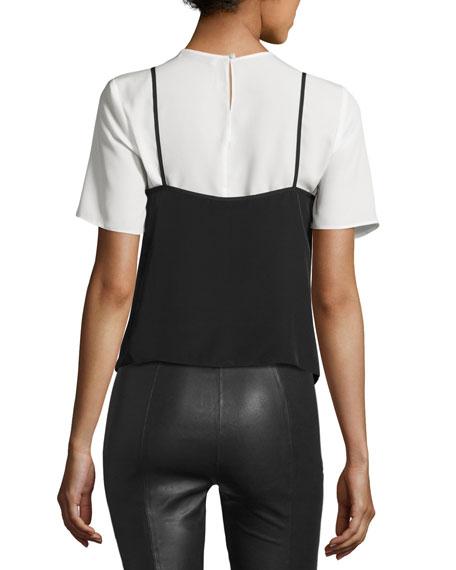 La Belle Layered Top, Black/White