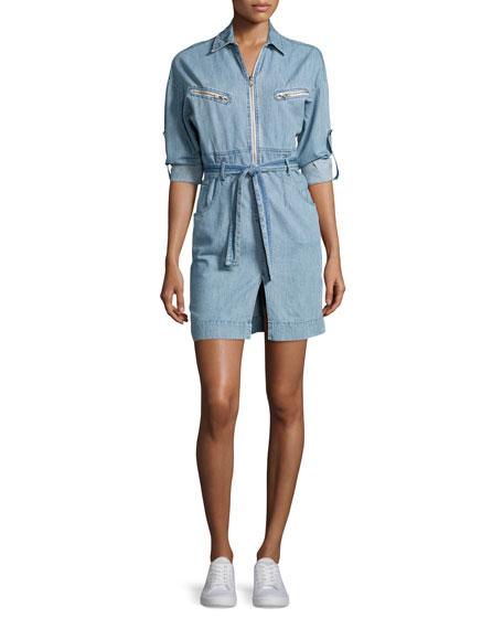Iro Phibie Long-Sleeve Cotton Chambray Dress, Blue