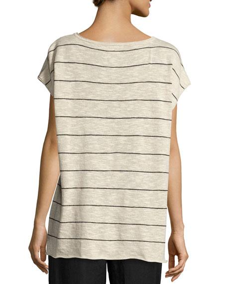 Short-Sleeve Striped Box Top, Natural/Black