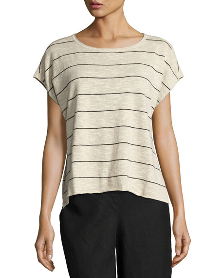 Short-Sleeve Striped Box Top, Natural/Black