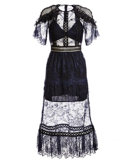 Frill-Shoulder Fine Lace Midi Dress, Navy