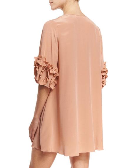 See By Chloe Ruffle Sleeve Silk Shift Dress Beige