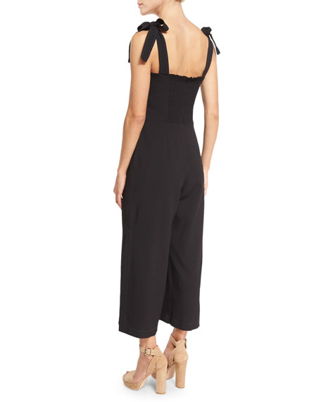 Sleeveless Stretch Crepe Jumpsuit, Black