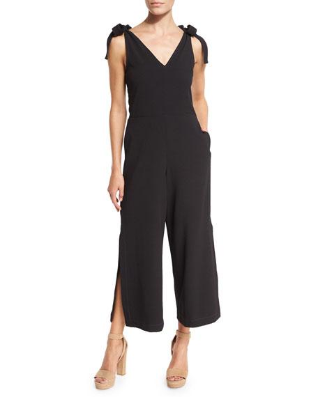 Sleeveless Stretch Crepe Jumpsuit, Black