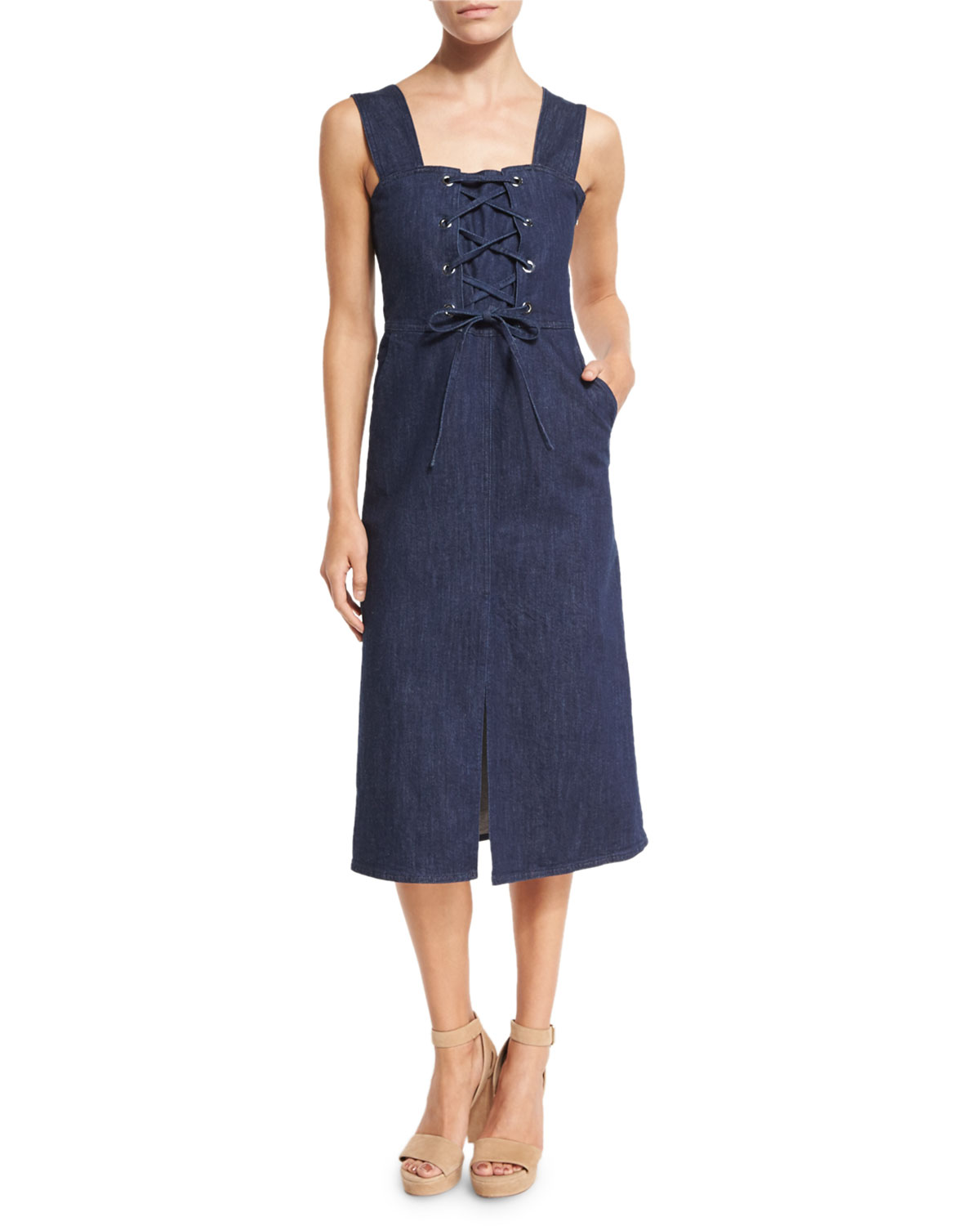 6770271f93a See by Chloe Sleeveless Laced Stretch Denim Midi Dress