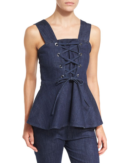 Sleeveless Laced Stretch Denim Peplum Top, Blue