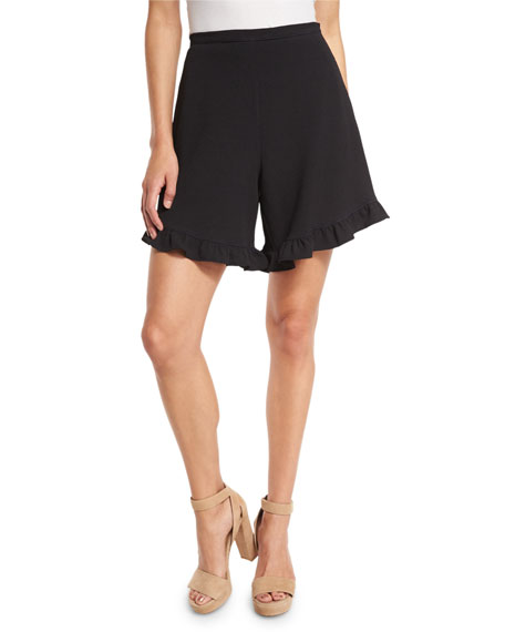 Stretch Crepe High-Rise Ruffle Shorts, Black