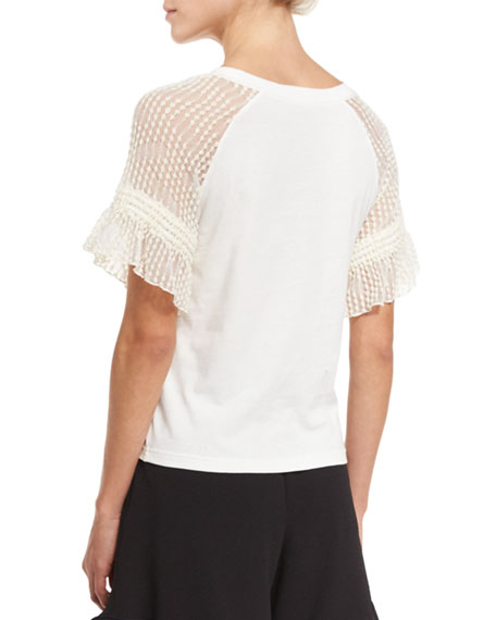 Cotton Jersey & Point d'Esprit Tee, Off White