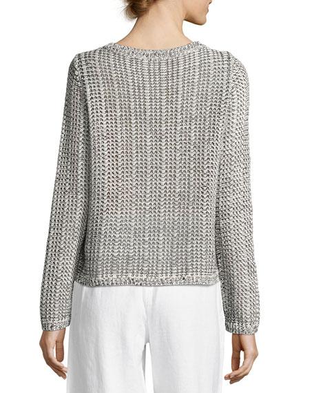 Crisp Organic Cotton/Linen Knit Box Top, Petite