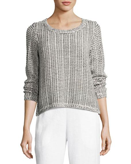 Eileen Fisher Crisp Organic Cotton/Linen Knit Box Top,