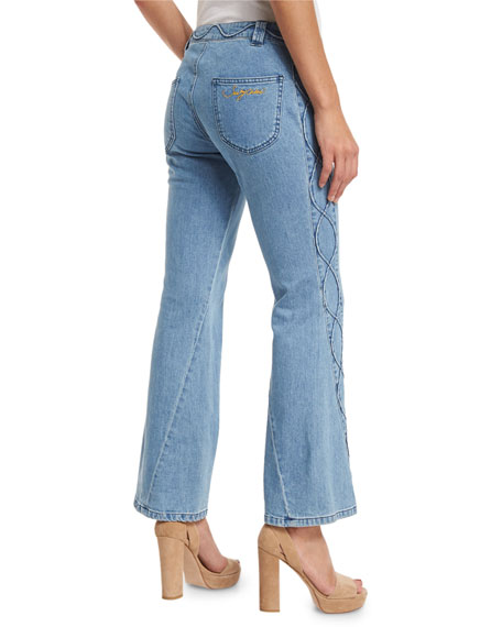 Embroidered Cropped Flare Jeans, Blue