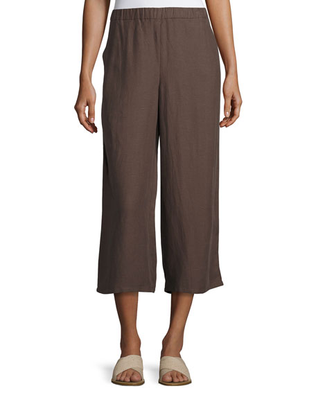 Eileen Fisher Drapey Cropped Pants, Cobblestone