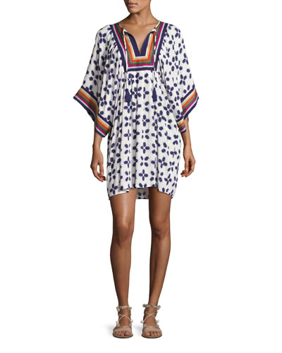 Beetle Bug Embroidered Coverup Tunic, White