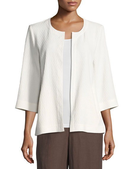 Eileen Fisher Double-Weave Crinkled Jacket, White, Plus Size