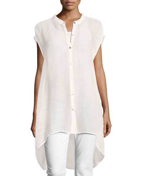 Eileen Fisher Organic Linen-Blend Mesh Tunic, Petite