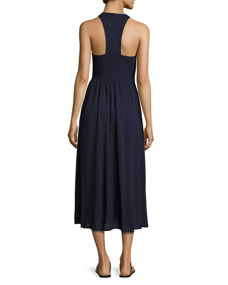 Smocked Sleeveless Coverup Sundress, Navy