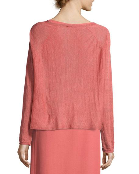 Fine Organic Linen-Blend Box Top, Coral