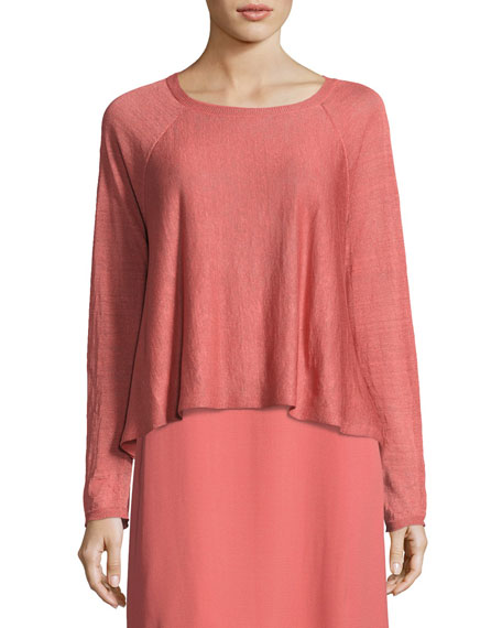 Eileen Fisher Fine Organic Linen-Blend Box Top, Coral