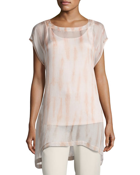 Cap-Sleeve Sheer Silk Shibori Tunic, Coral
