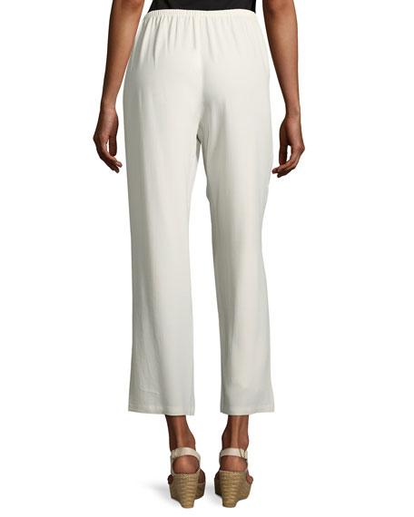 Silk Georgette Crepe Straight-Leg Ankle Pants, Bone