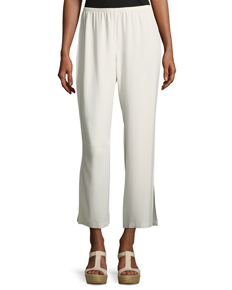 Eileen Fisher Silk Georgette Crepe Straight-Leg Ankle Pants,