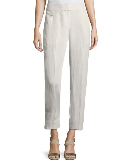 Eileen Fisher Organic Linen/Silk Slub Ankle Pants