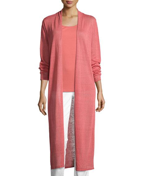Eileen Fisher Fine Organic Linen-Blend Maxi Cardigan, Coral,