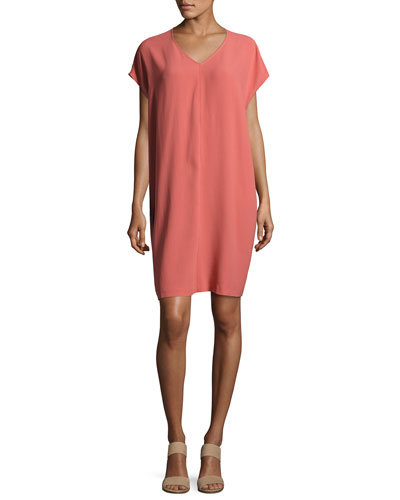 Short-Sleeve Silk Shift Dress, Coral