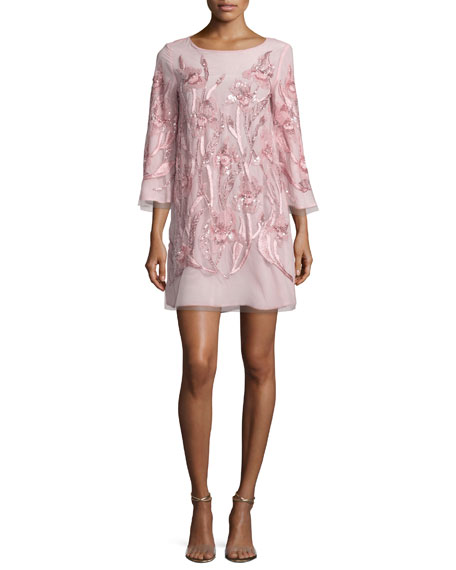 Marchesa Notte 3/4-Sleeve Beaded Floral Cocktail Dress, Blush