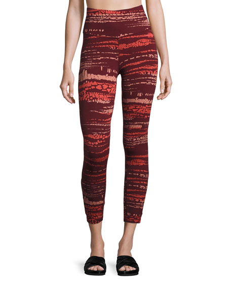 Motivation Strappy Printed Leggings, Red