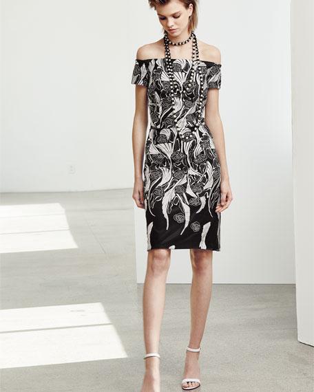 Off-the-Shoulder Floral Cocktail Dress, Black