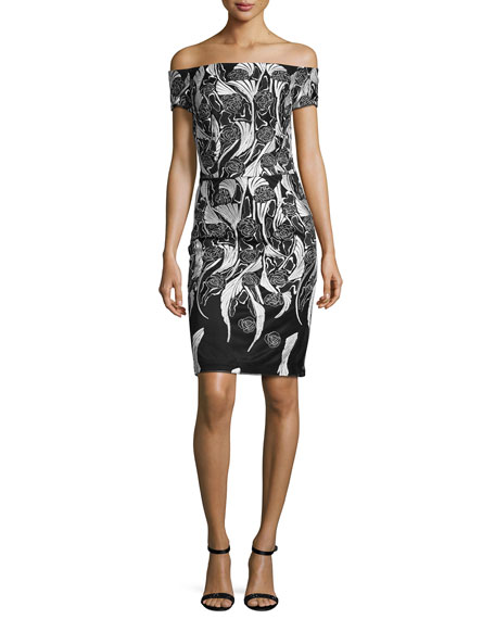 David Meister Off-the-Shoulder Floral Cocktail Dress, Black