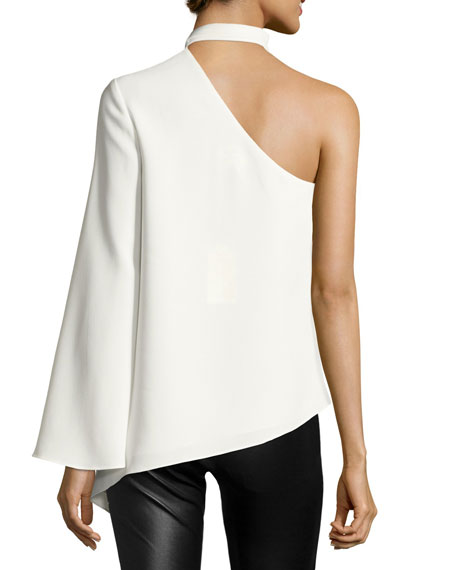 Kiera One-Shoulder Crepe Top, Ivory