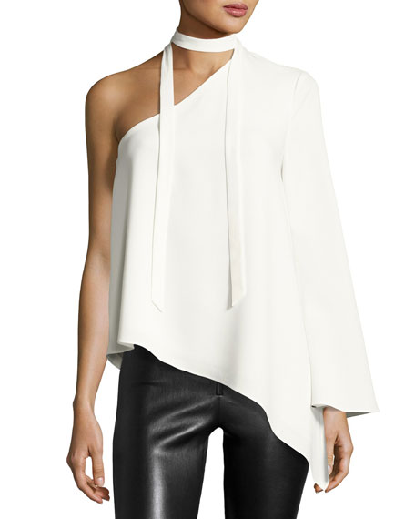 CINQ À SEPT Kiera One-Shoulder Crepe Top, Ivory