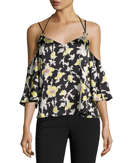 Rayna Floral Cold-Shoulder Top, Green/Black