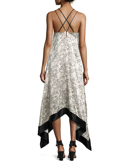 Somiya Sleeveless Handkerchief-Hem Dress, Black/White