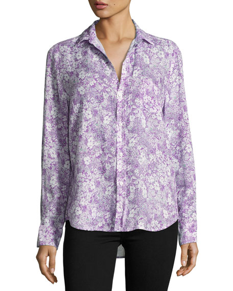 Eileen Floral-Print Shirt, Purple/Green
