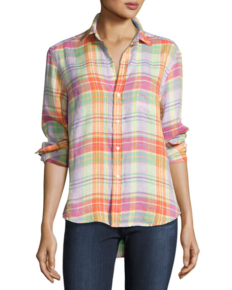 Frank & Eileen Eileen Plaid Pocket Shirt, Purple/Green/Orange