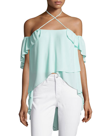 Carla Cold-Shoulder Crossover Halter Top, Light Aqua Blue