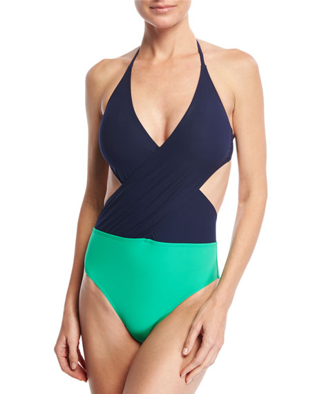 Tory Burch Colorblock Wrap-Front One-Piece Swimsuit
