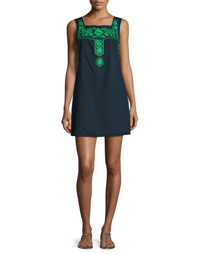 Amira Embroidered Sleeveless Shift Dress, Blue/Green