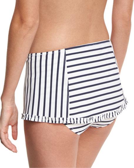 Sail Striped Skirted Swim Bottom, White/Blue