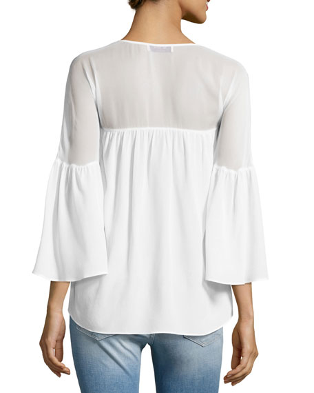 Cross Training V-Neck Bell-Sleeve Top, White