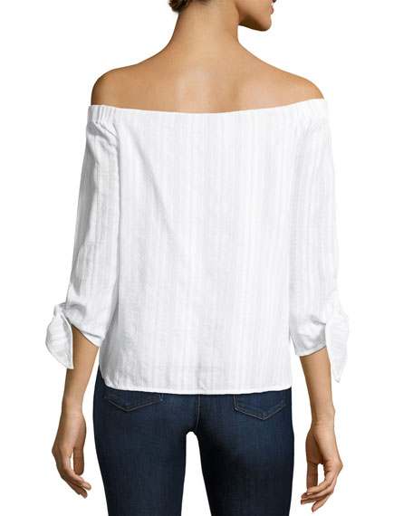 Yarrow Off-The-Shoulder Striped Top, White